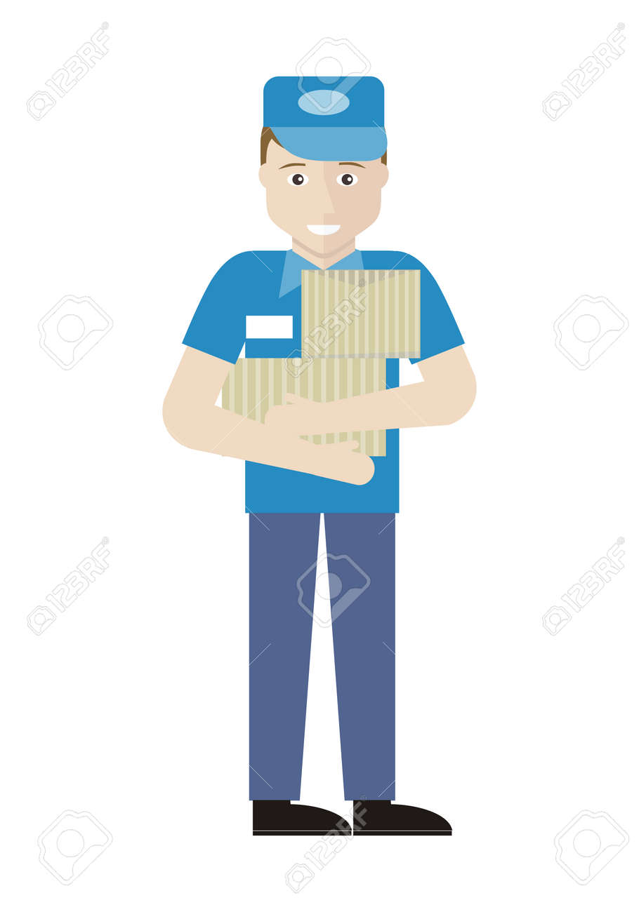 profession series young man s assistant merchandiser profession series young man s assistant merchandiser seller holds boxes in his hands