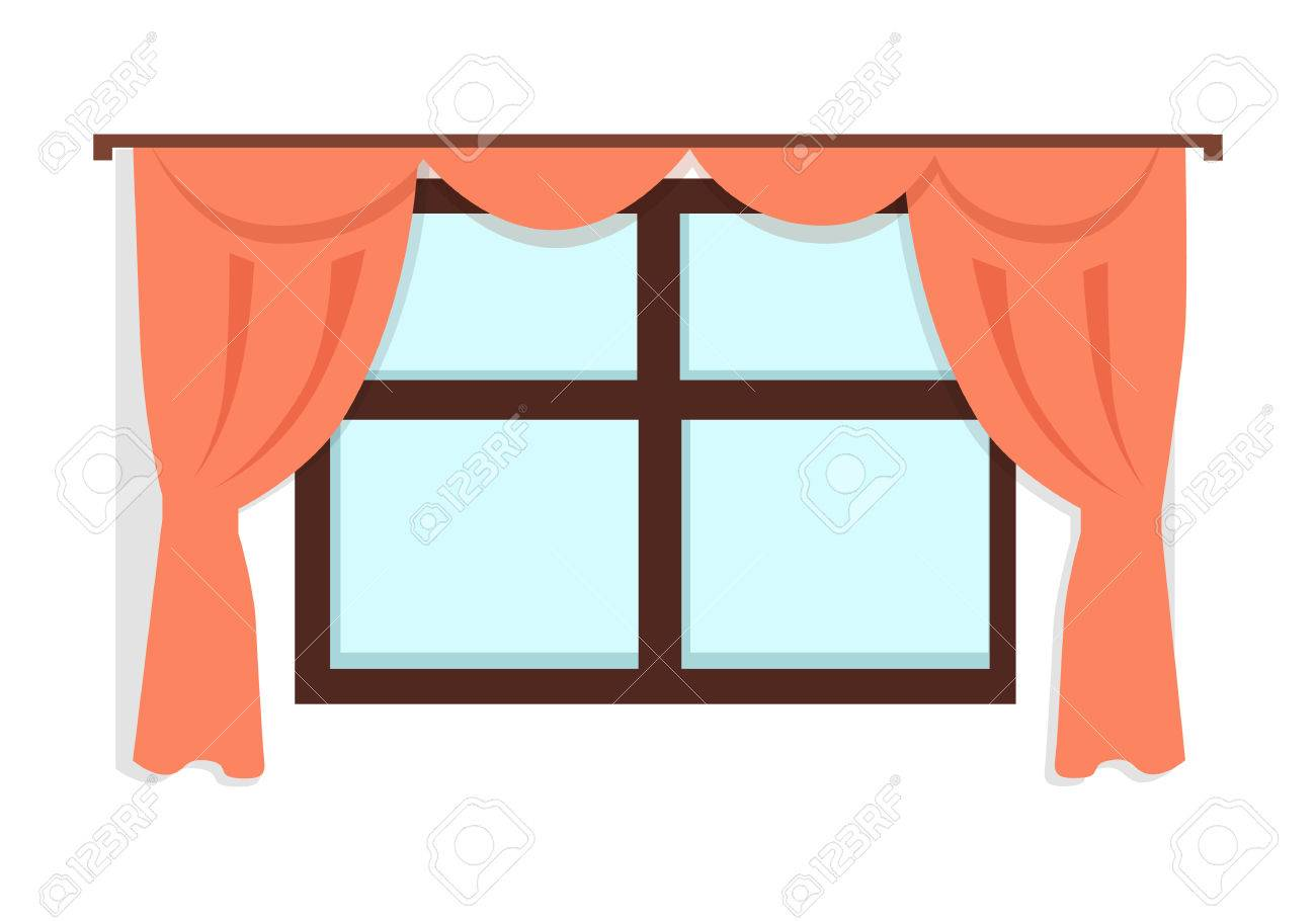 window with red curtains on white wall background fragment of