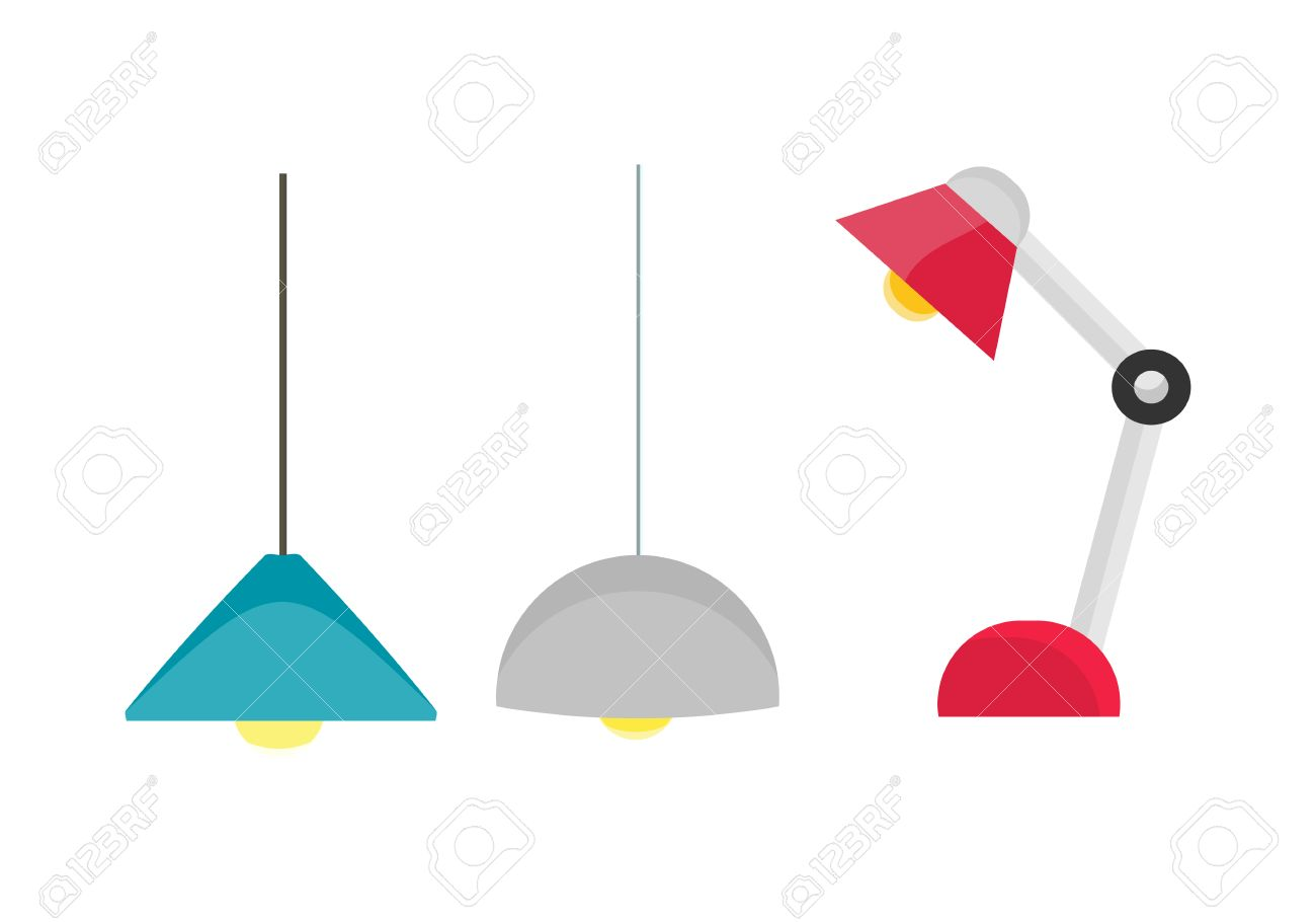 Ceiling Light And Table Lamp Vector. Flat Design. Simple Classic ...