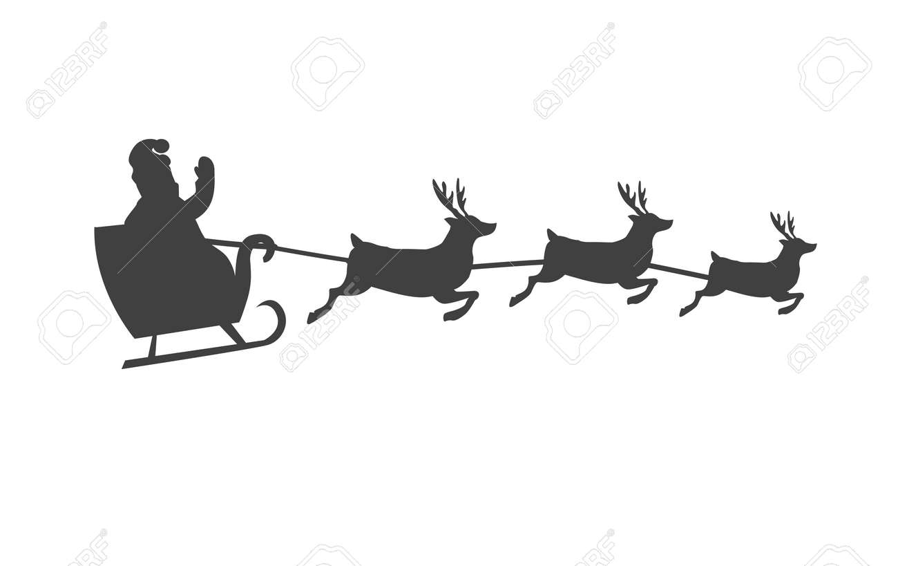 Santa Claus On Sleigh With Reindeer Silhouette Stock Vector