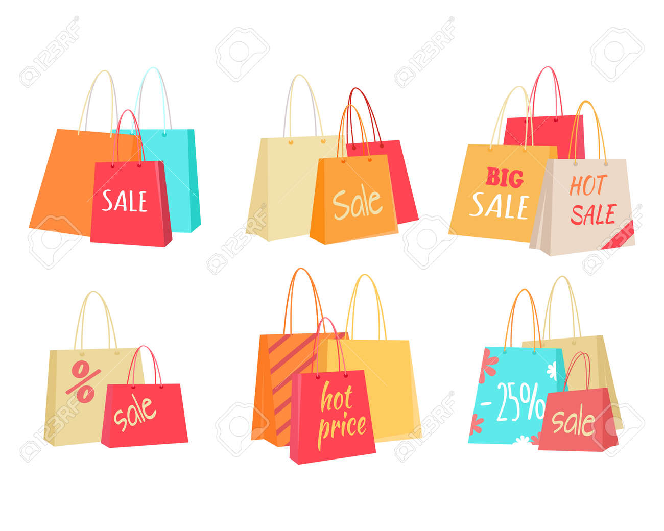 77bdc4cb6a Big sale in clothing store. Color shopping paper bags with sales  advertising text flat illustrations