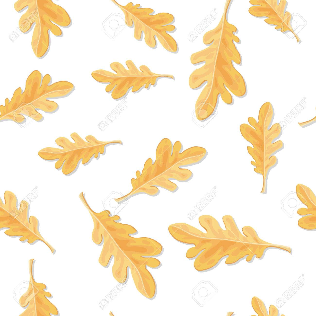 seamless pattern with qutumn oak leaves isolated fallen leaf