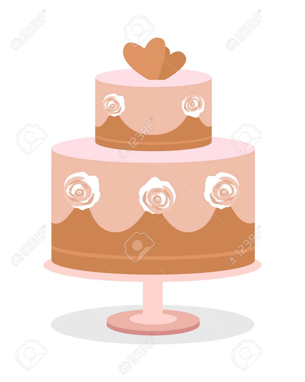 Wedding Cake Vector Illustration Flat Design Two Tier Chocolate