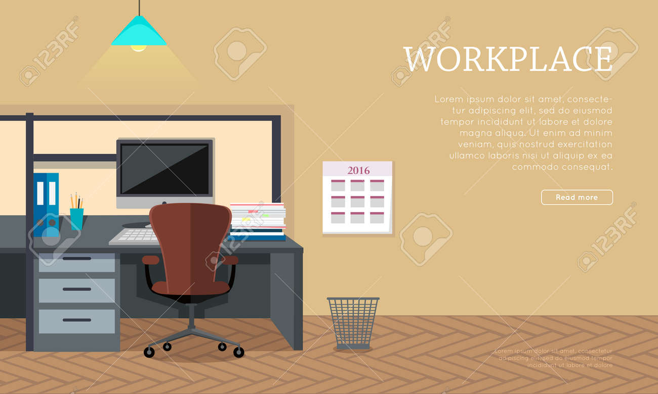 workplace conceptual vector web banner flat style office room
