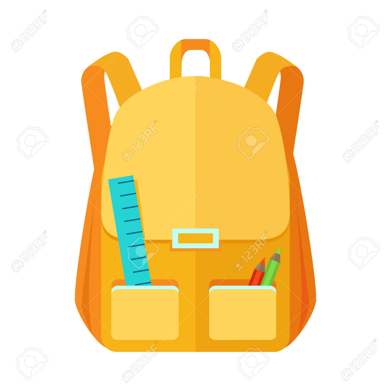 306e0757b7 Backpack schoolbag icon in flat style. Hiking backpack. Kids backpack with  notebook and ruler