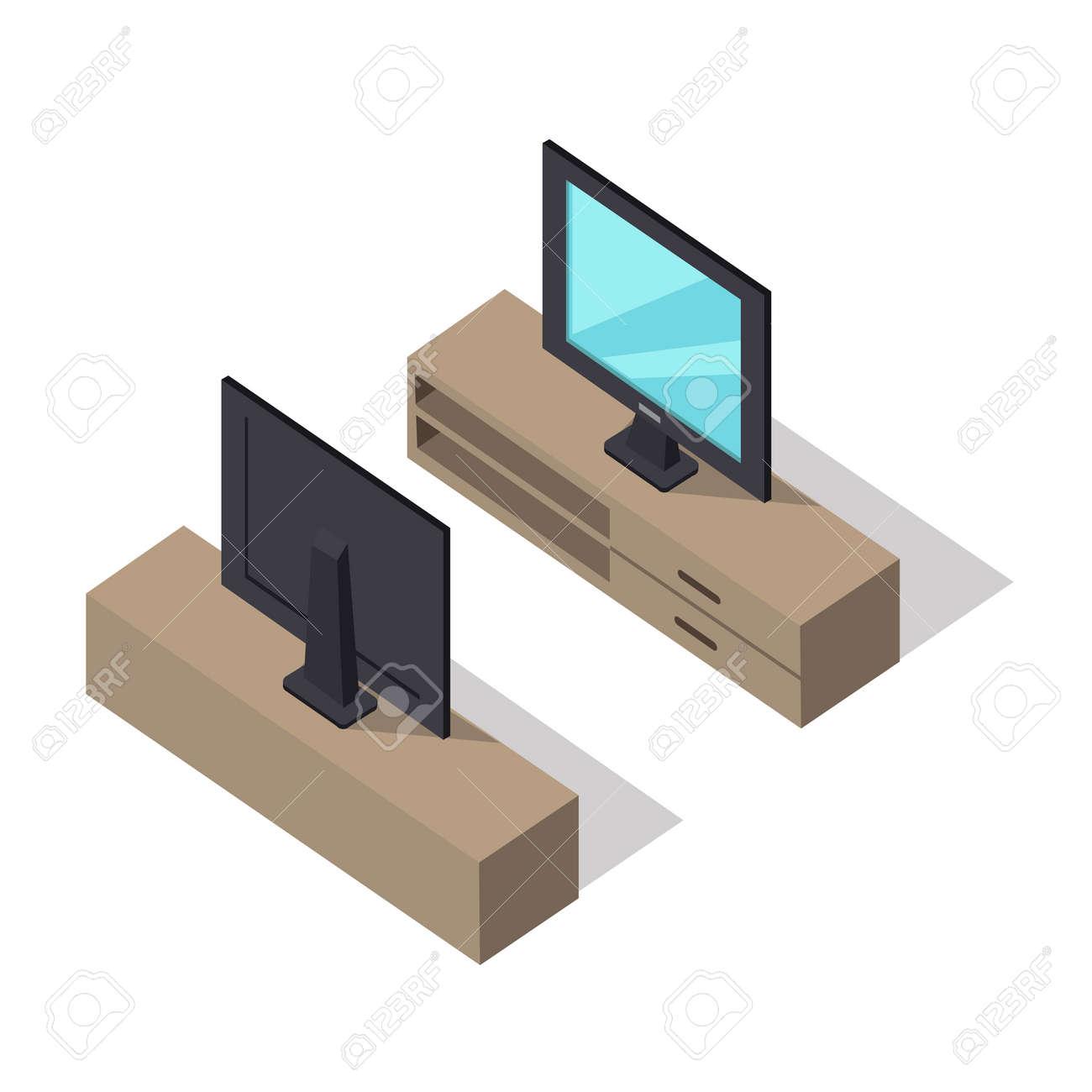 Televisor En El Gabinete En Dos Lados En Proyección Isométrica ...