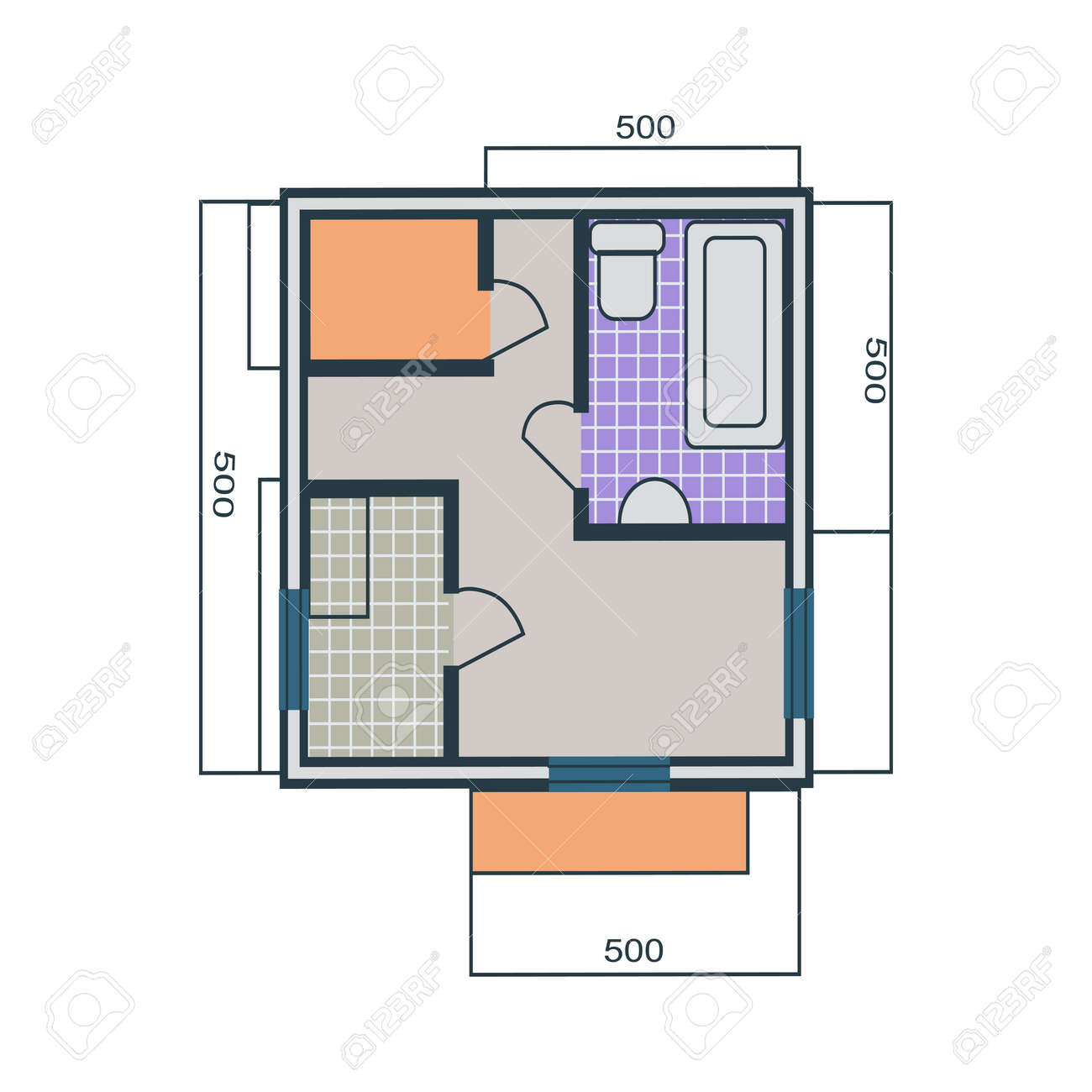 Apartments plan in flat style. Drawing one-bedroom apartment..