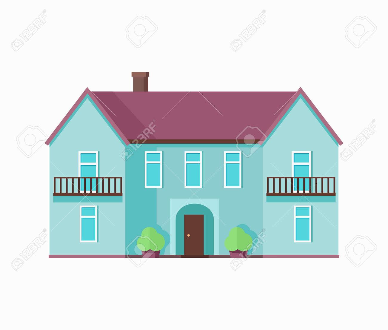Maison Heureux Avec Le Modèle Terrasse Affiche. Extérieur Symbole ...