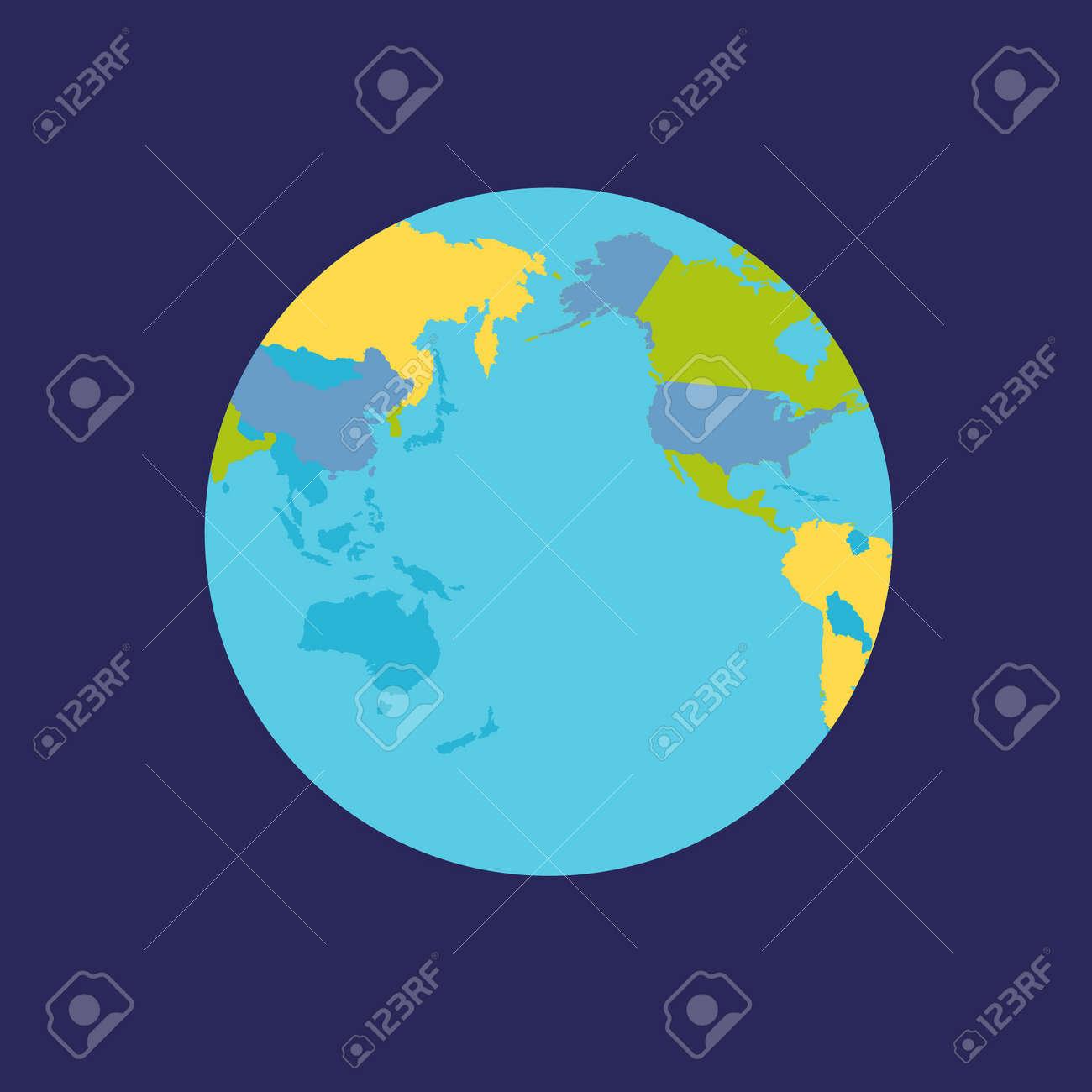 惑星の地球のイラスト政治地図と地球儀惑星の表面の国のシルエット