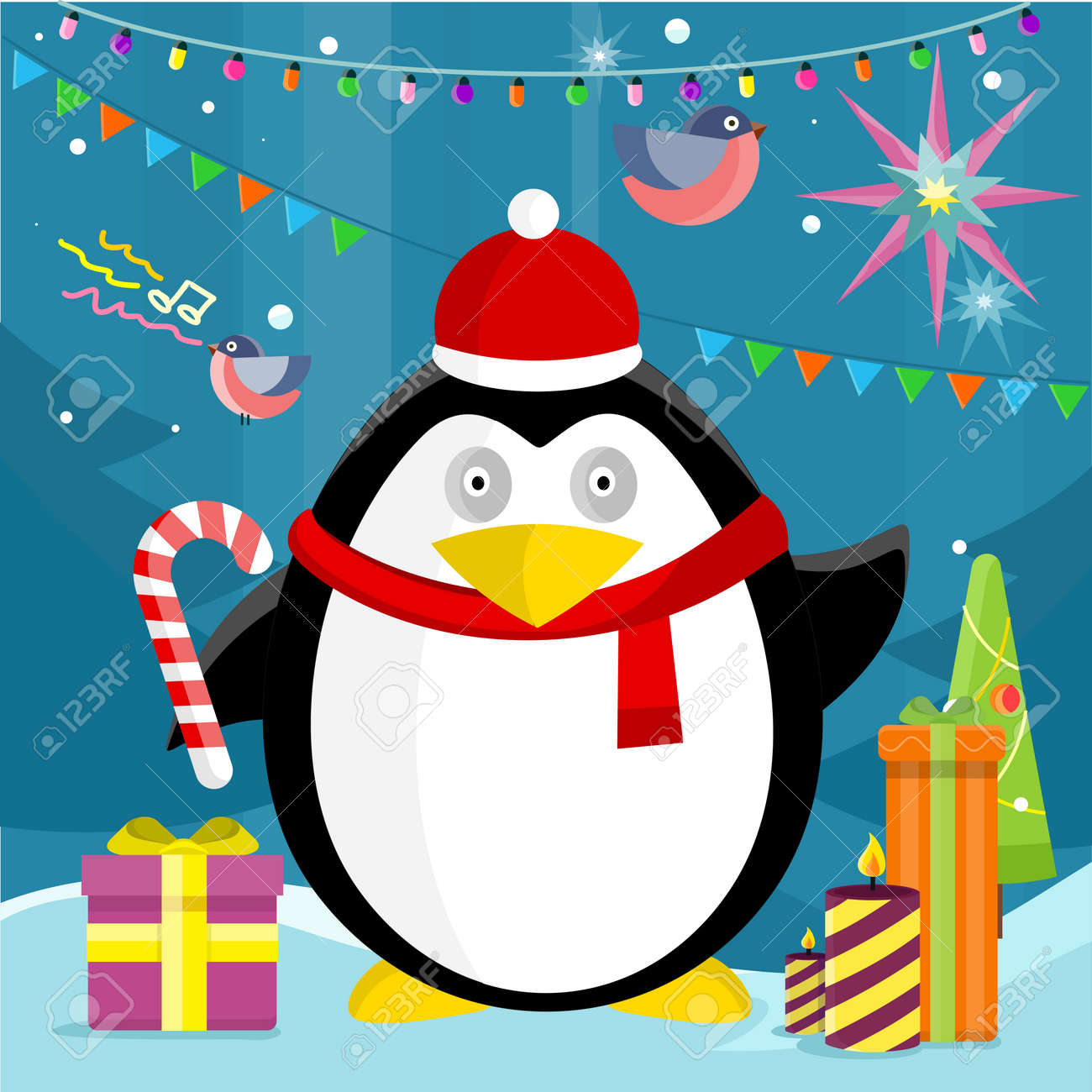 e3f7de56cd820 Penguin with candy stick near christmas presents on background with snow