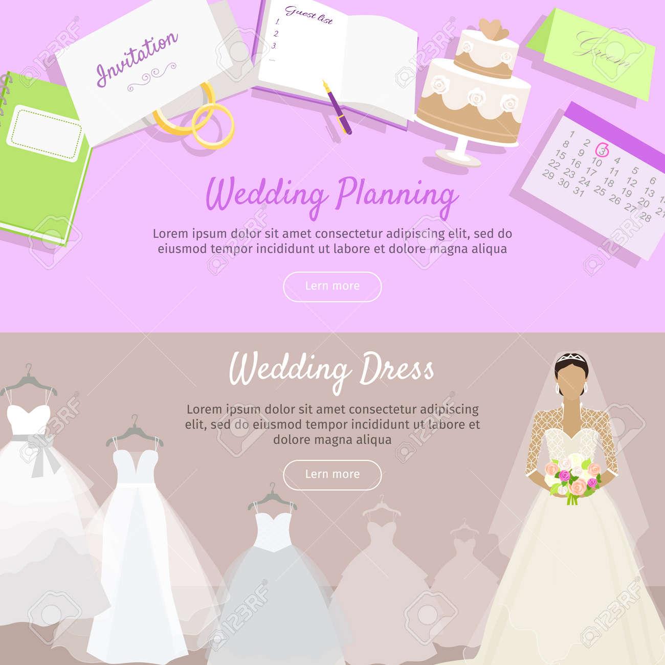 Hochzeitsplanung und Hochzeitskleid Web Banner. Vorbereitung für die  Hochzeit. Anreise nach Trauung bereit. Planen Sie alles voraus. Die Wahl  des ...