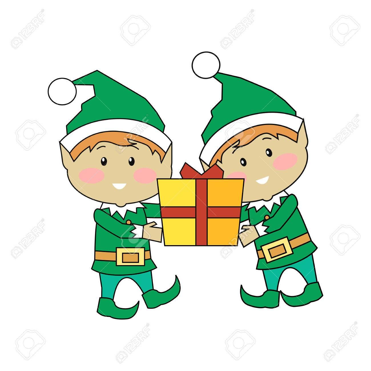 Elfos De Navidad Caja De Regalo Dos Personajes De Dibujos Animados De Navidad Que Llevan Nuevo Año Presente Duende Ayudante De Santas Aislado En
