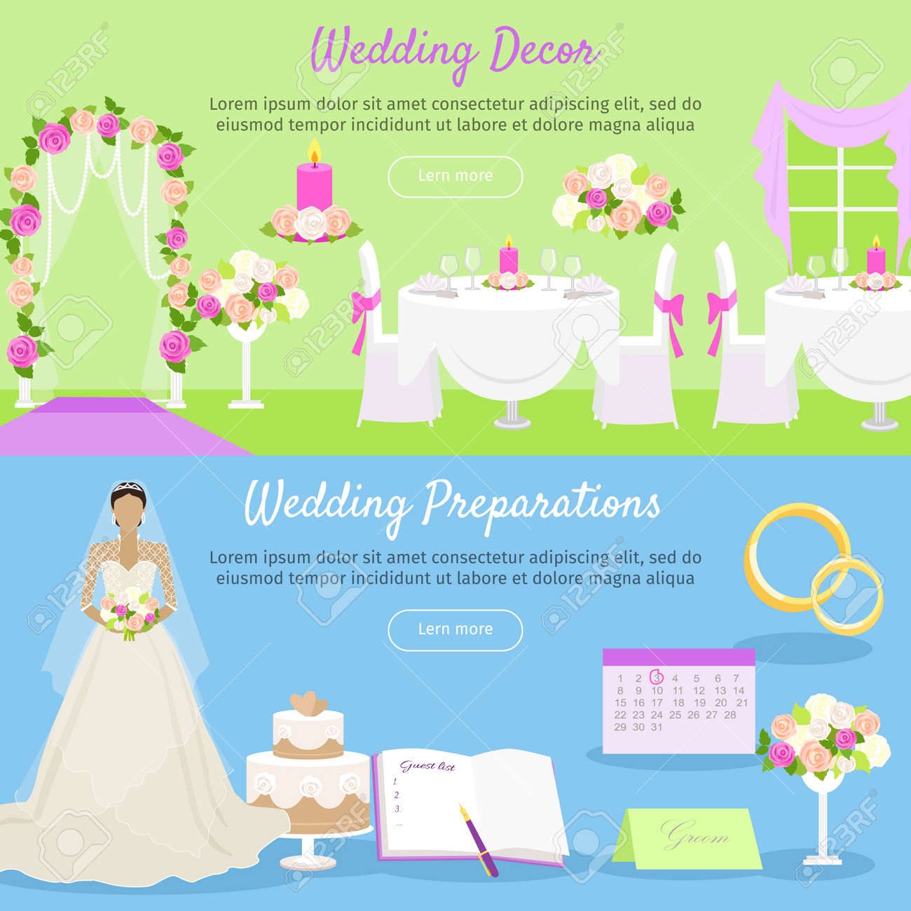 Wedding decor and wedding preparations web banner planning the vector wedding decor and wedding preparations web banner planning the wedding day getting ready to marriage ceremony getting ready everything ahead junglespirit Gallery