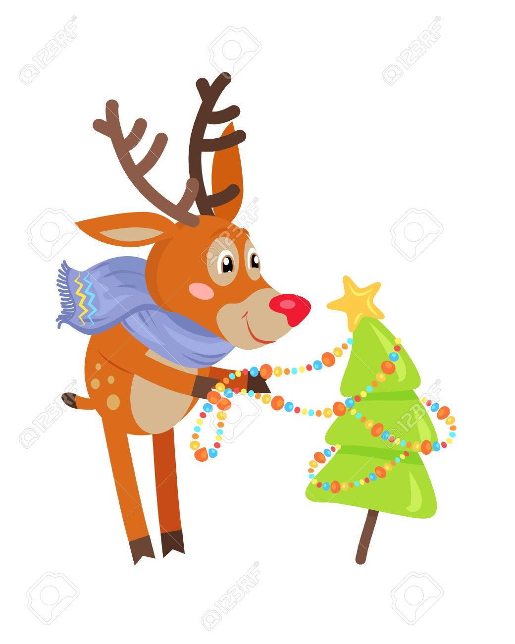 Deer In Blue Scarf Decorating Christmas Tree Isolated. Funny ...