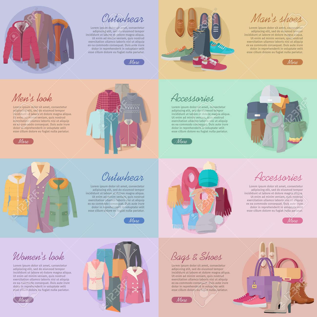 conjunto de banderas de la tela vector de la moda diseo plano outwear