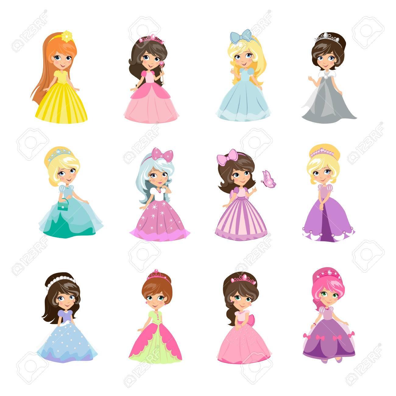 Mode Avondjurken.Set Van Prinsessen In Avondjurken Geisoleerd Elegant Kleine Meisjes