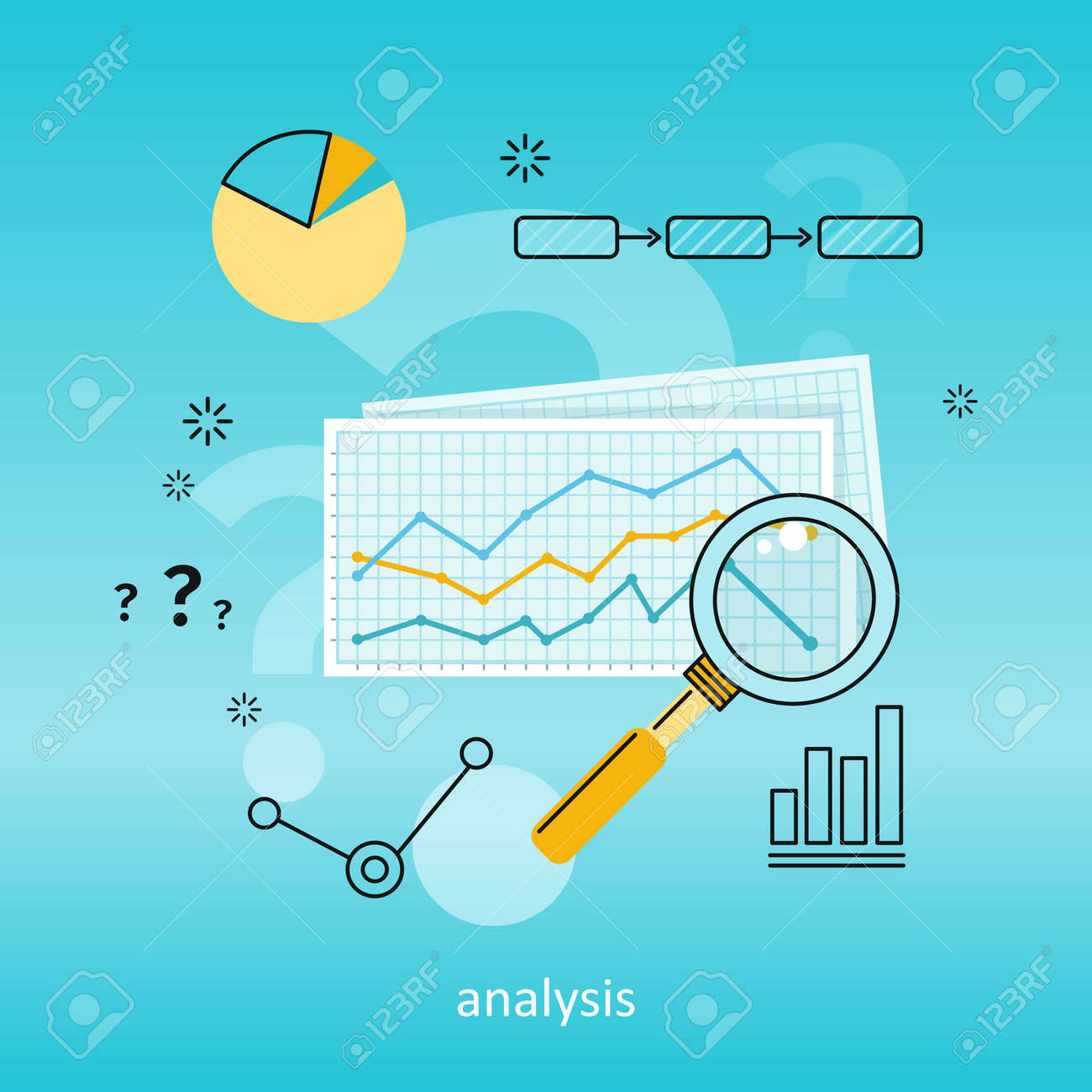Magnifier with colour diagram on squared paper  Concept of online