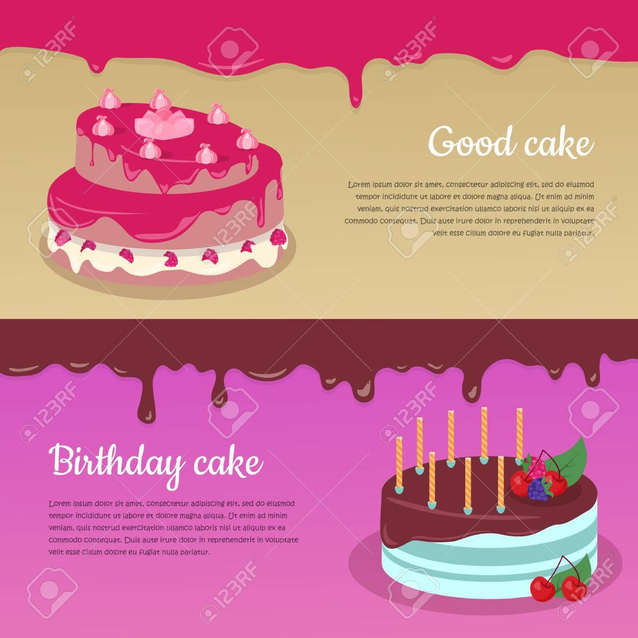 Good Cake. Birthday Cake. Cake With Raspberry And Candlesticks ...