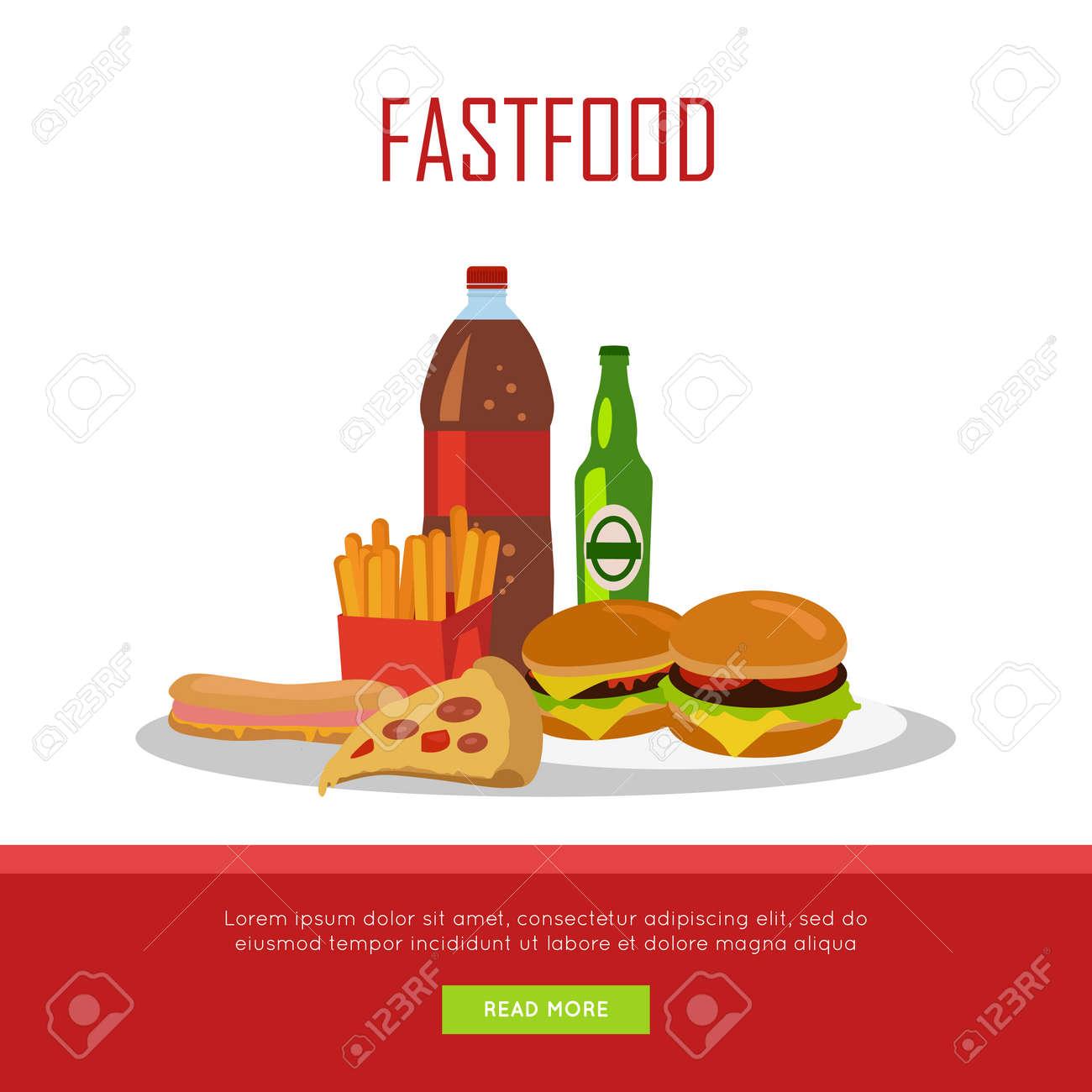 Fast Food-Banner Auf Weißem Hintergrund. Ungesunde Lebensmittel. Der ...