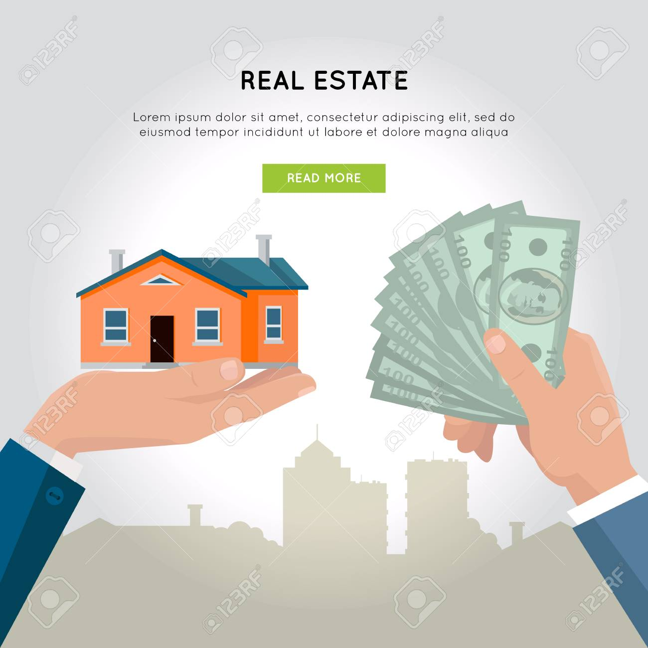 Real Estate Vector Web Banner In Flat Design Hands With House Royalty Free Cliparts Vectors And Stock Illustration Image 67691519