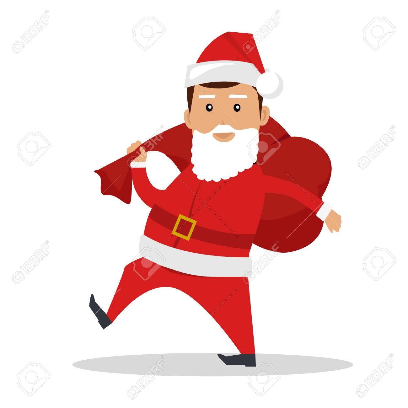 Weihnachtsmann Charakter Vektor. Flaches Design. Mann Im Sankt-Anzug ...