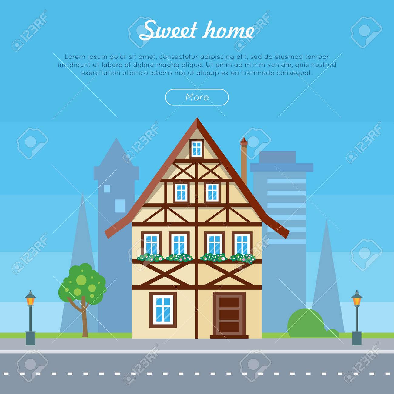 Sweet Home Haus Banner Plakat Vorlage. Exterior Home-Symbol Mit ...
