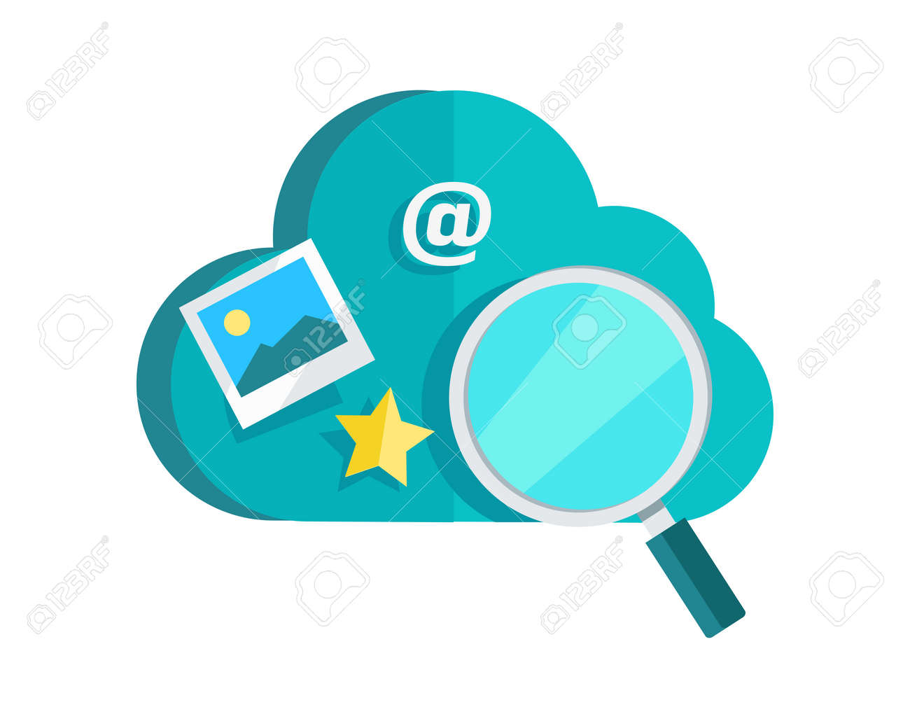 Data Protection Cloud Storage Design Flat Concept. Search For ...