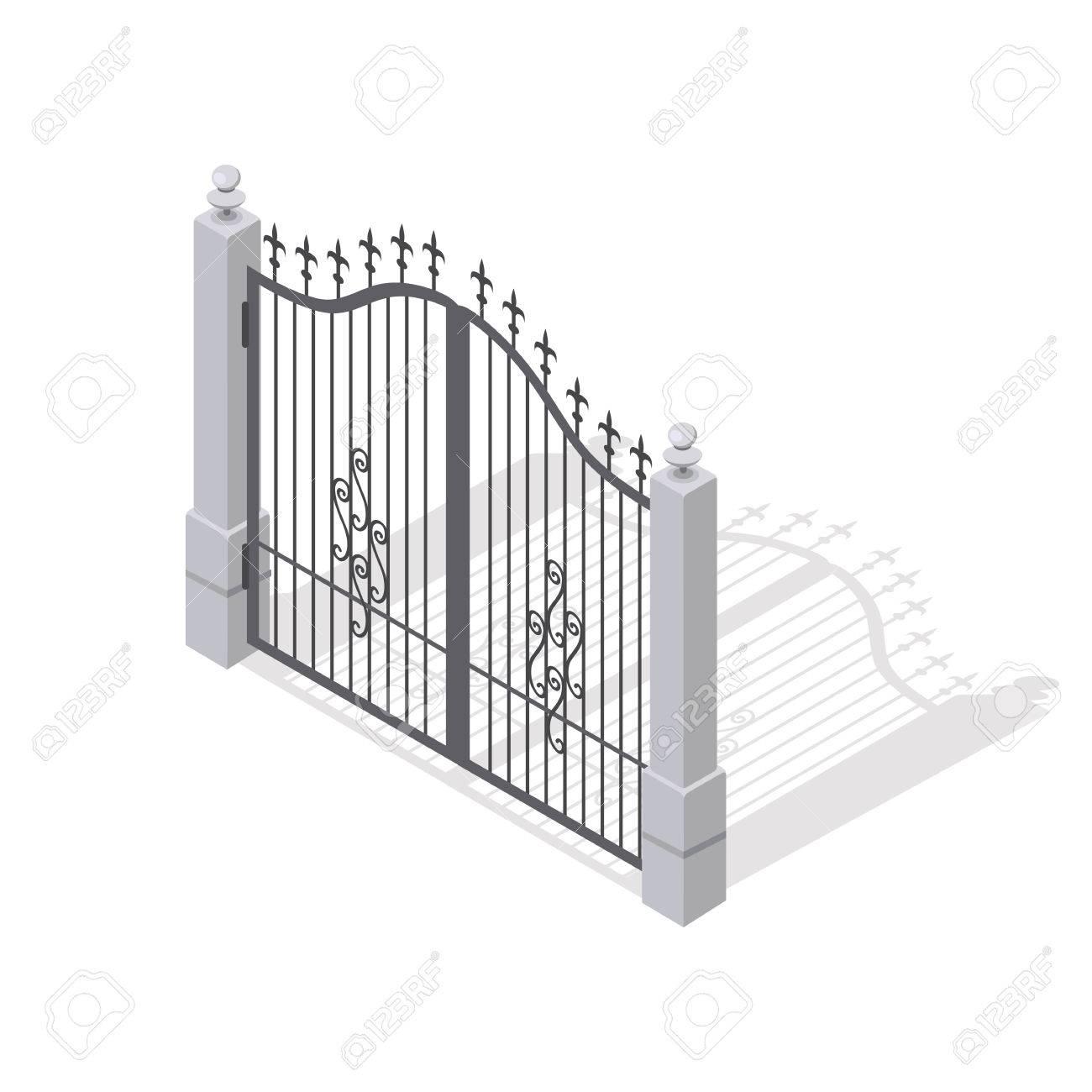 Hierro Puertas Abre Y Se Cierra Desde La Mitad Aislado En Blanco - Vallas-de-metal