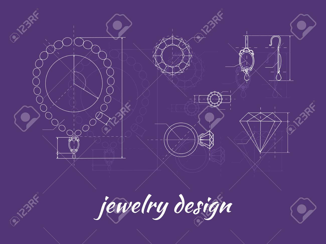 Jewelry design banner ring earring and necklace graphic scheme jewelry design banner ring earring and necklace graphic scheme diamond shape blueprint malvernweather Choice Image