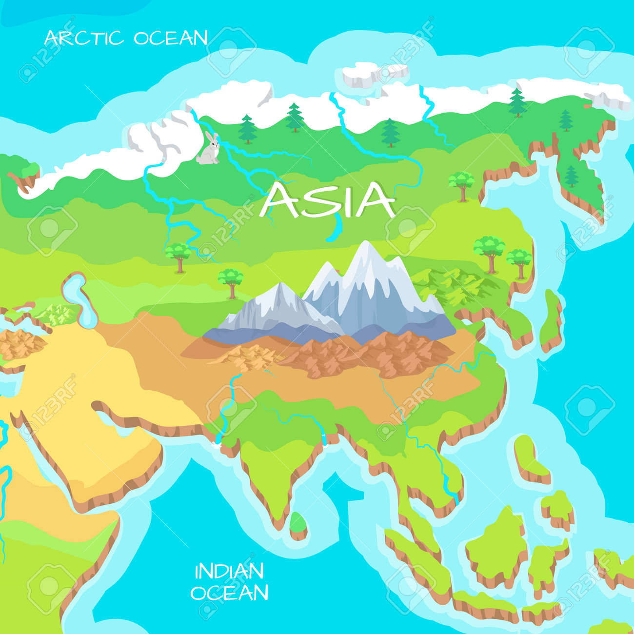 Asia Isometric Map With Natural Attractions Cartography Nature