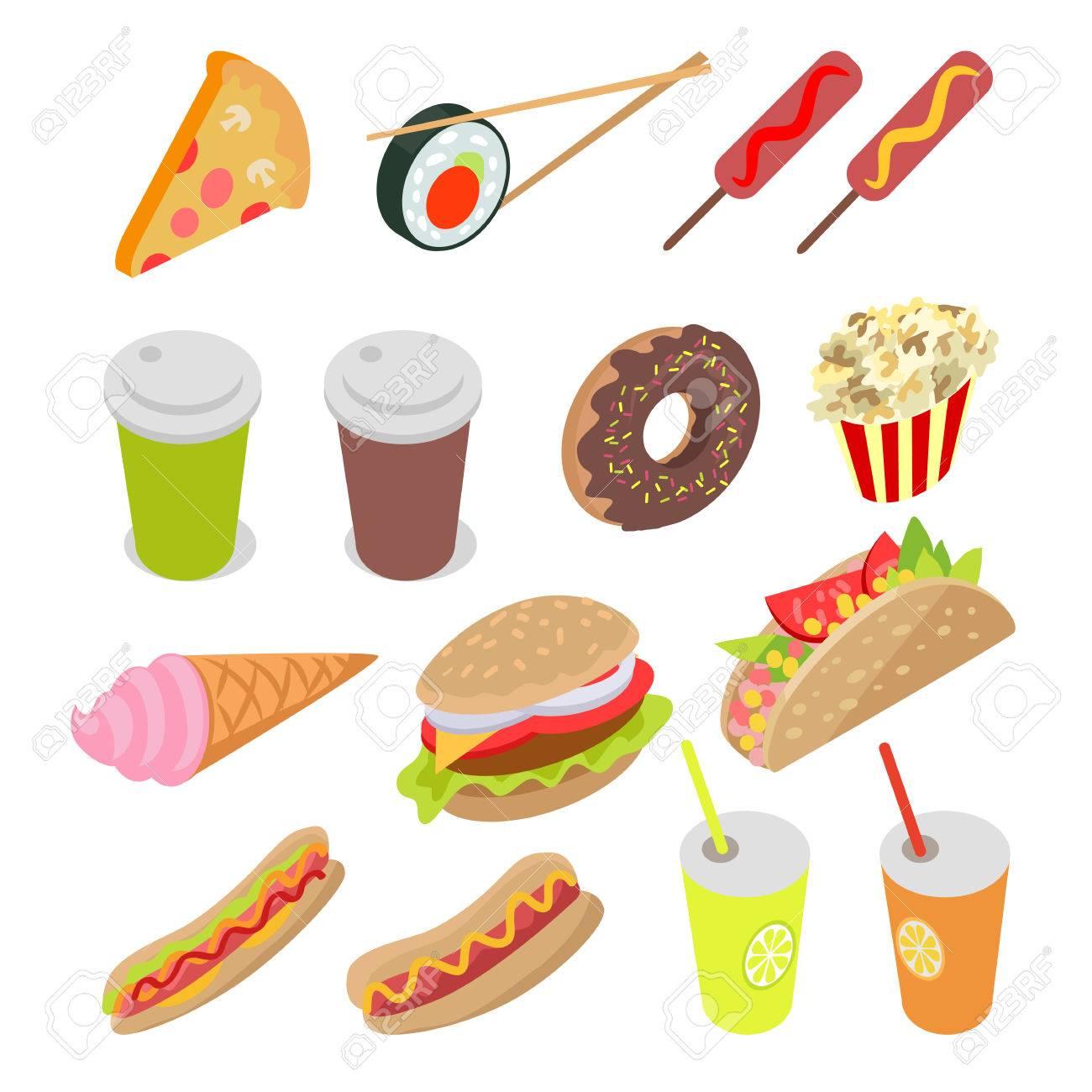 Ungesunde Lebensmittel und Getränke Set. Vector Illustration