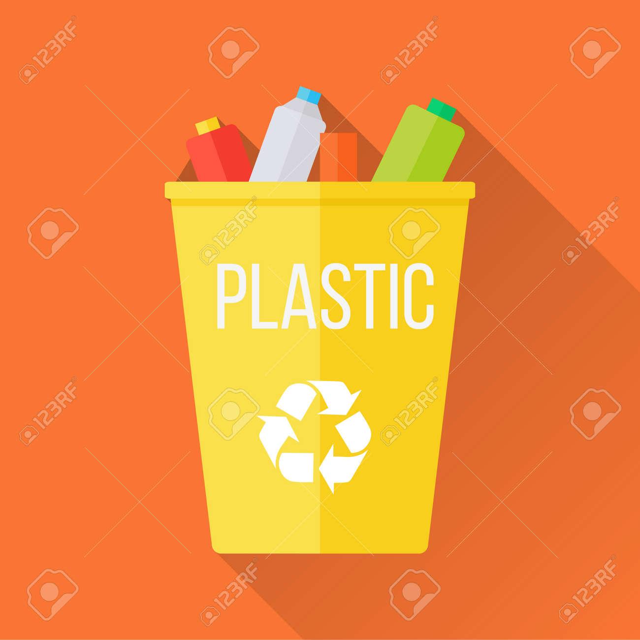 Gelb Bereiten Mulleimer Mit Plastik Auf Lizenzfrei Nutzbare