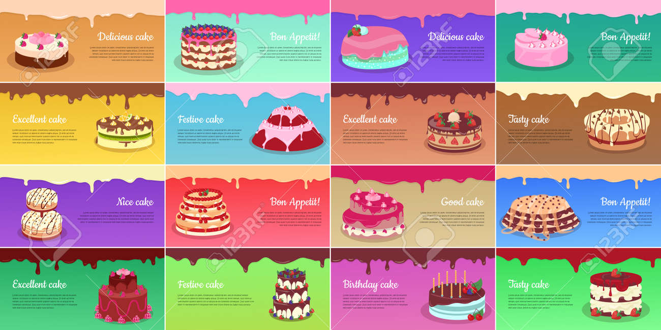 Collection Of Chocolate Cakes Greeting Cards Royalty Free Cliparts