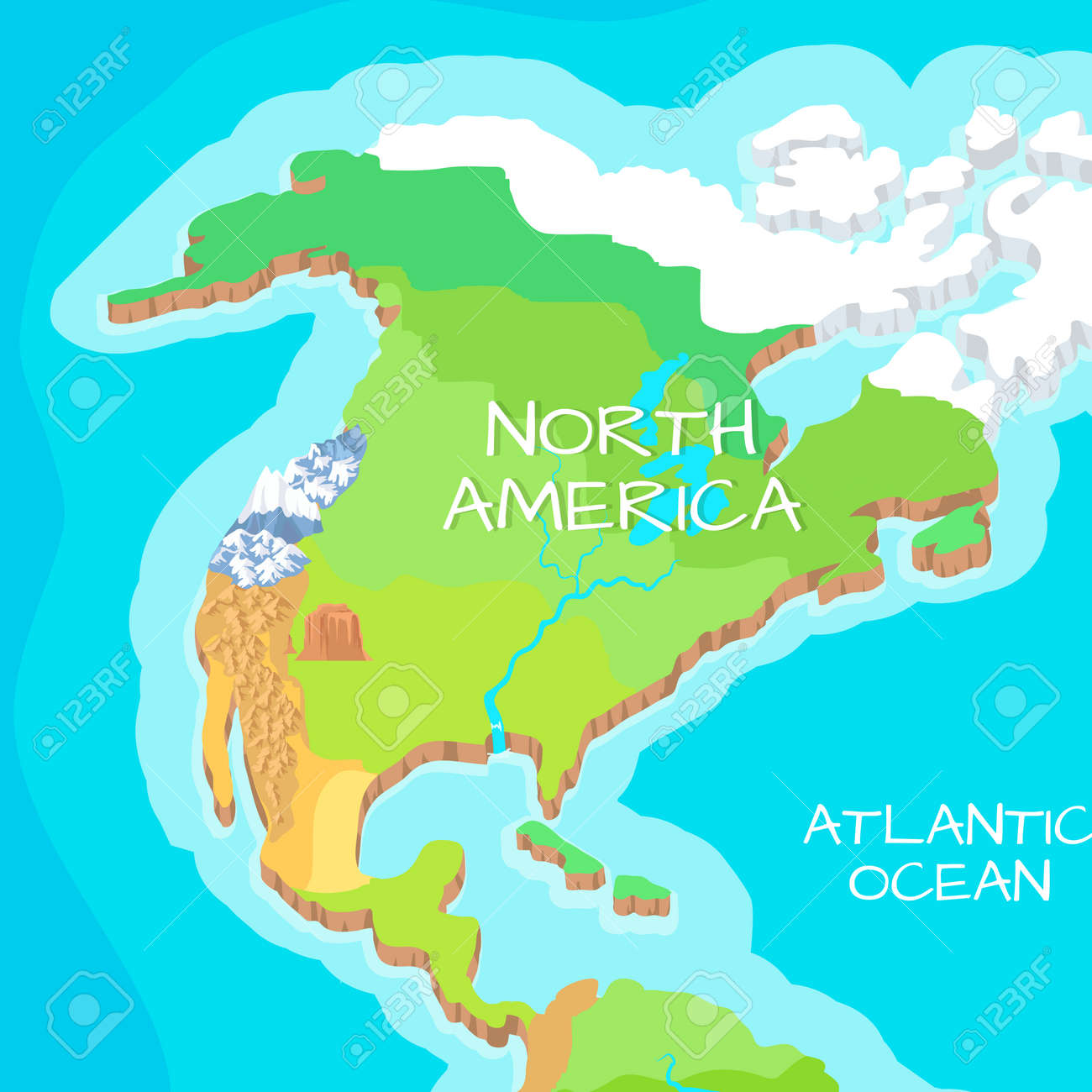 North America Mainland Cartoon Relief Map Stock Photo Picture And - North america relief map