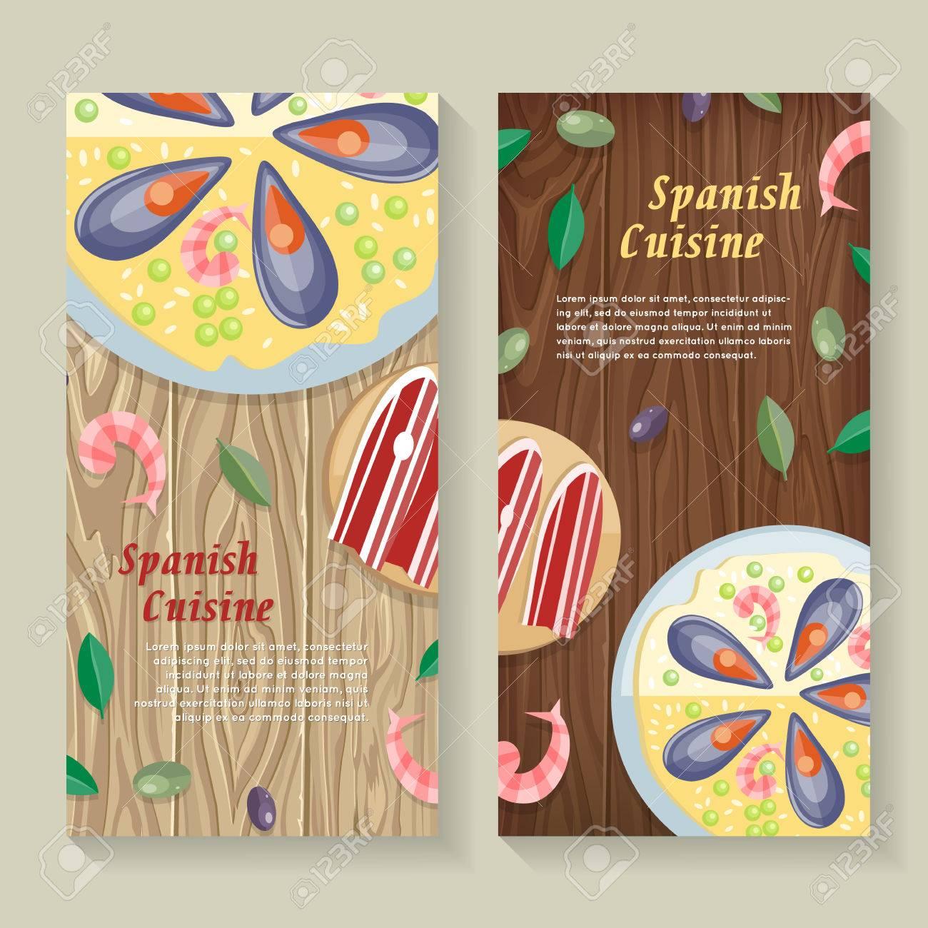 Spanische Küche Web Banner. Paella. Jamon. Tapas Lizenzfrei Nutzbare ...