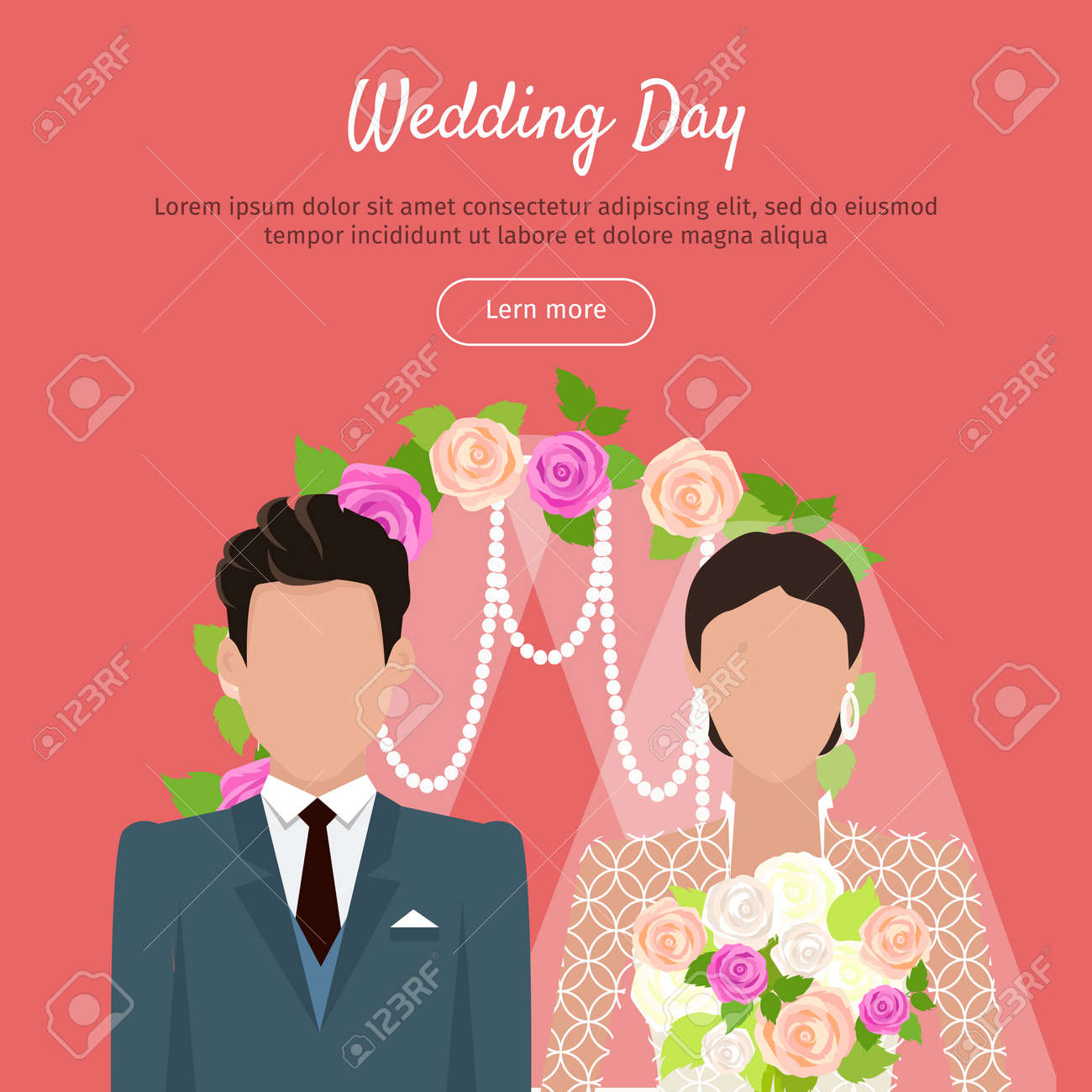 Wedding Day Web Banner Newlyweds Couple Design Royalty Free Cliparts Vectors And Stock Illustration Image 70458850