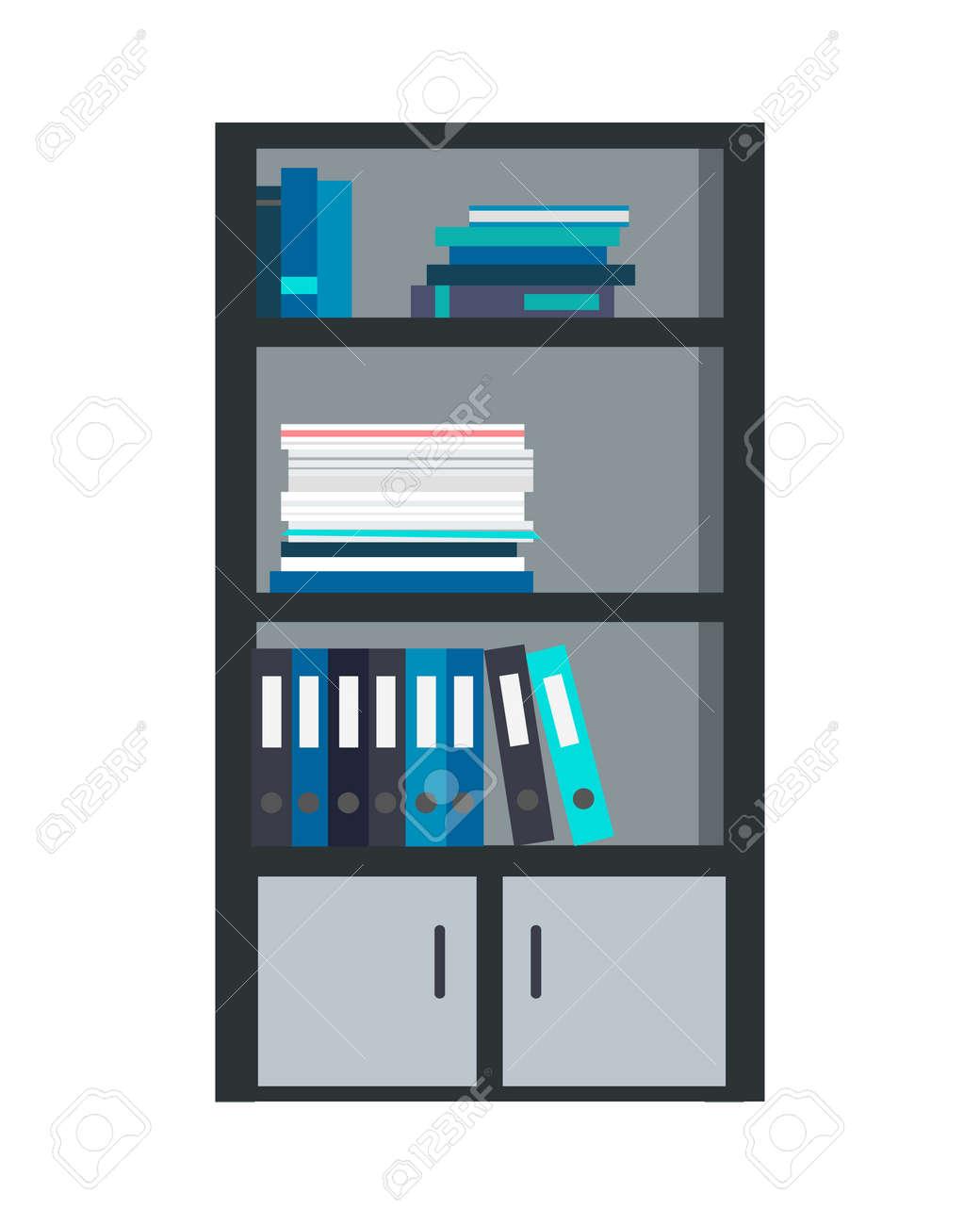 grote boekenkast met verschillende boeken gesoleerd stockfoto 70573680