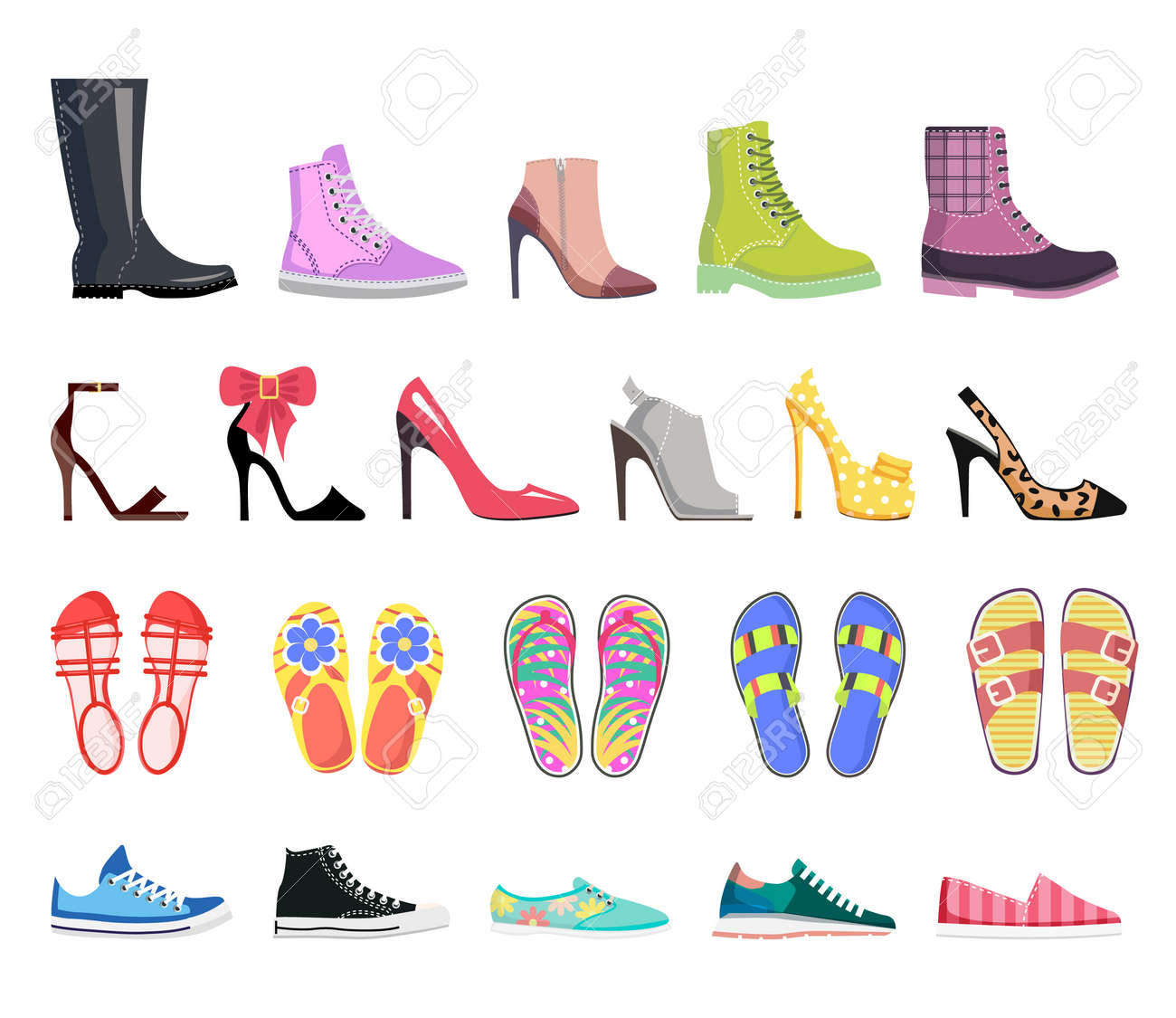 Ilustraciones Colección Moderna Zapatos Tipos De Mujer Calzado OYPHq
