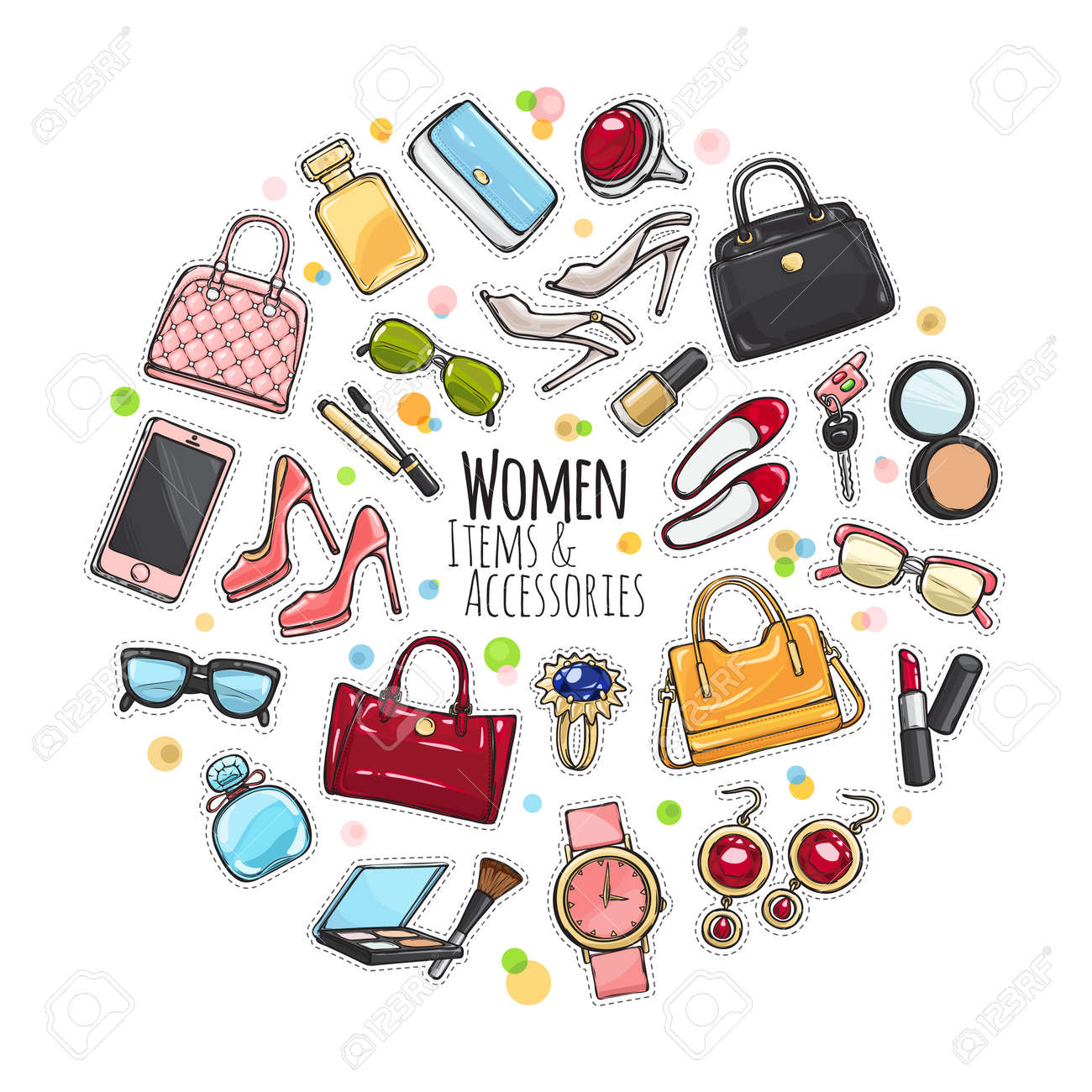 a0fd1ddd8730 Set Of Different Women Items And Accessories. Royalty Free Cliparts ...
