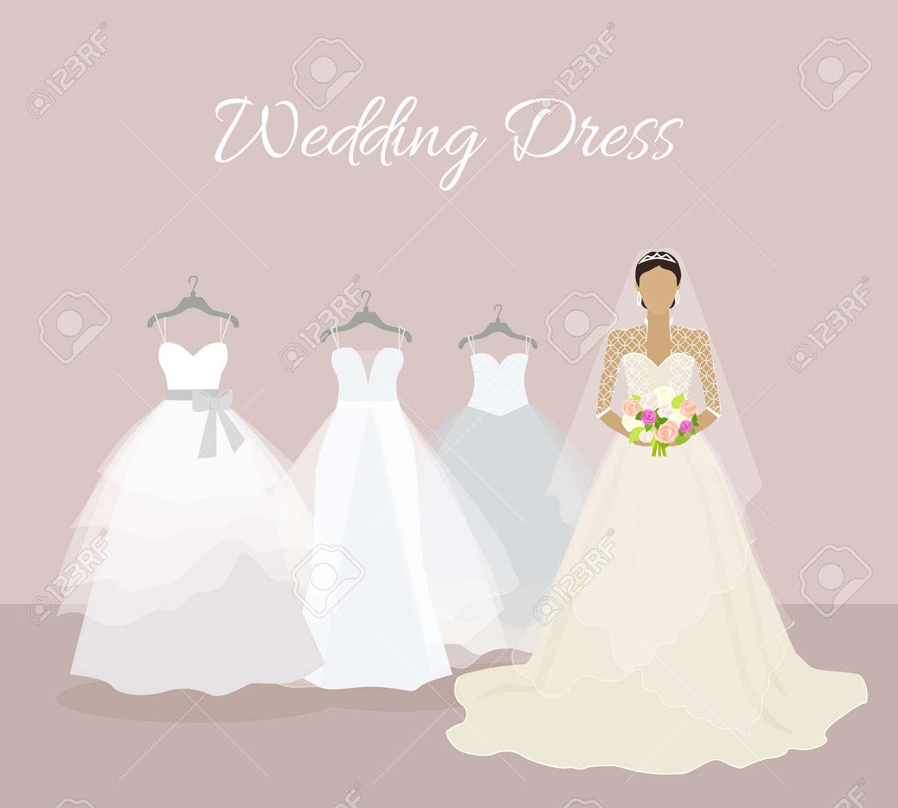 結婚式ドレスのバナーです。おしゃれな花嫁のウェディング  ドレスを選択します。お祝いとシャワー、ファブリック、休日、ブティックと結婚、グラマー女性のコルセット着用、豪華な花束、姫。花嫁のドレス。