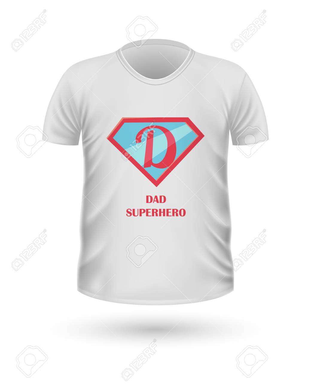 f74c50fb Dad Superhero T-shirt Front View Isolated. Vector Stock Vector - 70791013