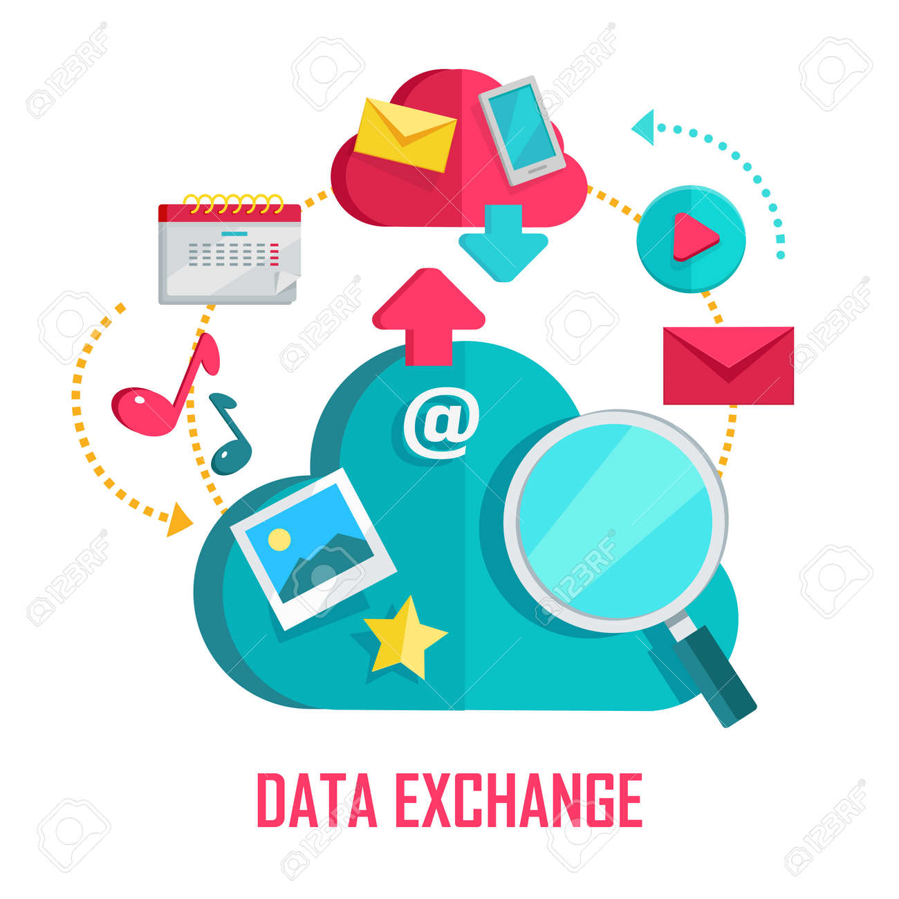 Data Exchange Banner. Networking Communication And Data Icons On White  Background. Data Protection,