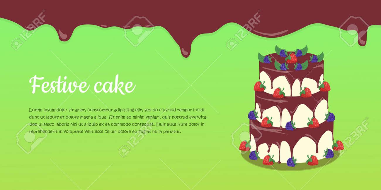 Bon Appetit Festive Cake Web Banner Chocolate Cake Bakery Isolated