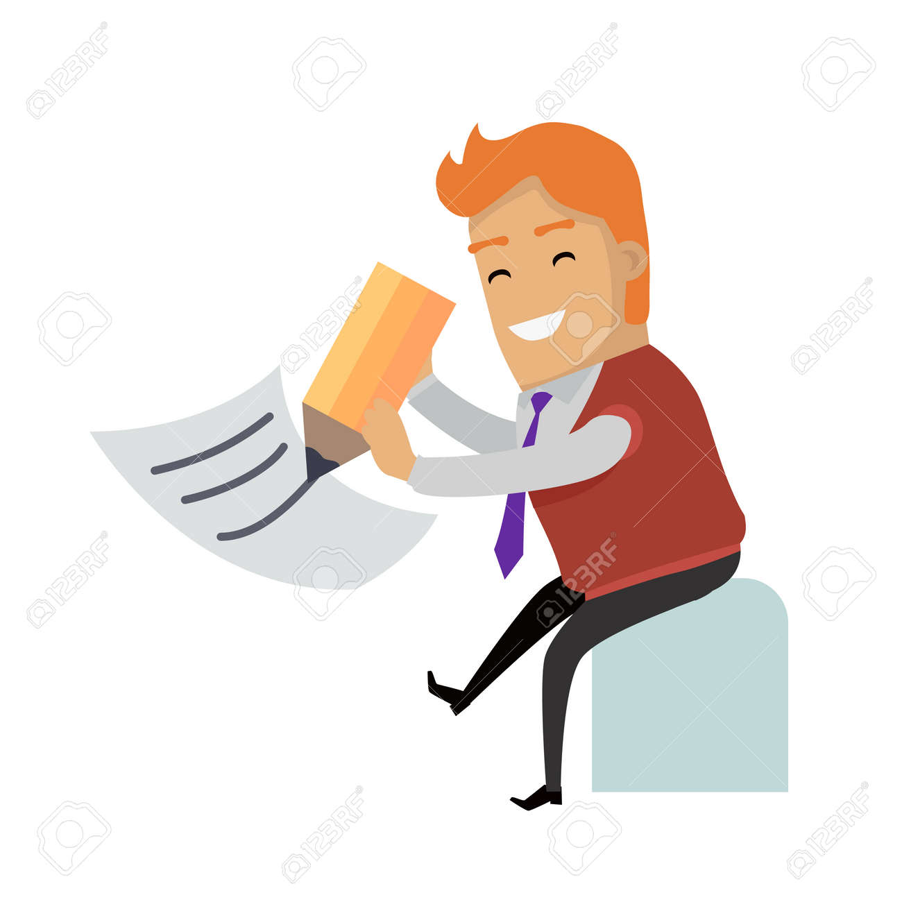 vector writing letter smiling man writing big pencil on sheet of paper vector illustration isolated on white background filling tax return