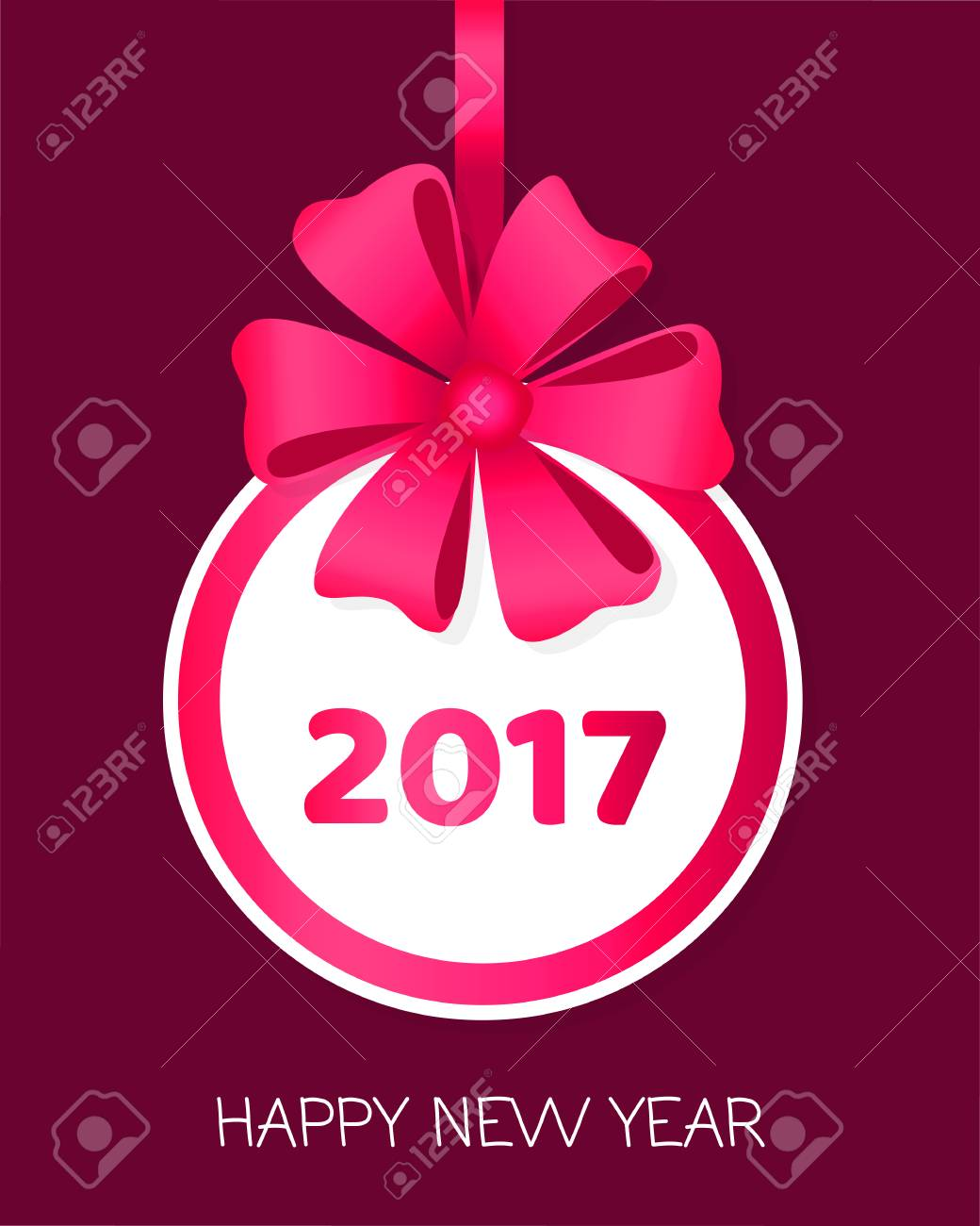 2017 Happy New Year Round Banner With Ribbons Royalty Free Cliparts