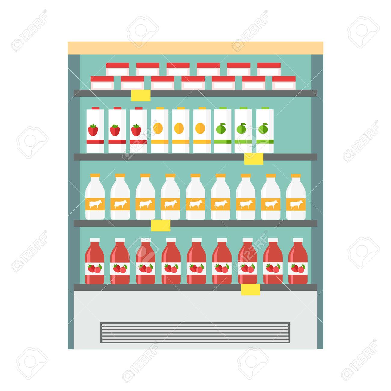 Showcase Kühlschrank Zur Kühlung Von Milchprodukten. Verschiedene ...