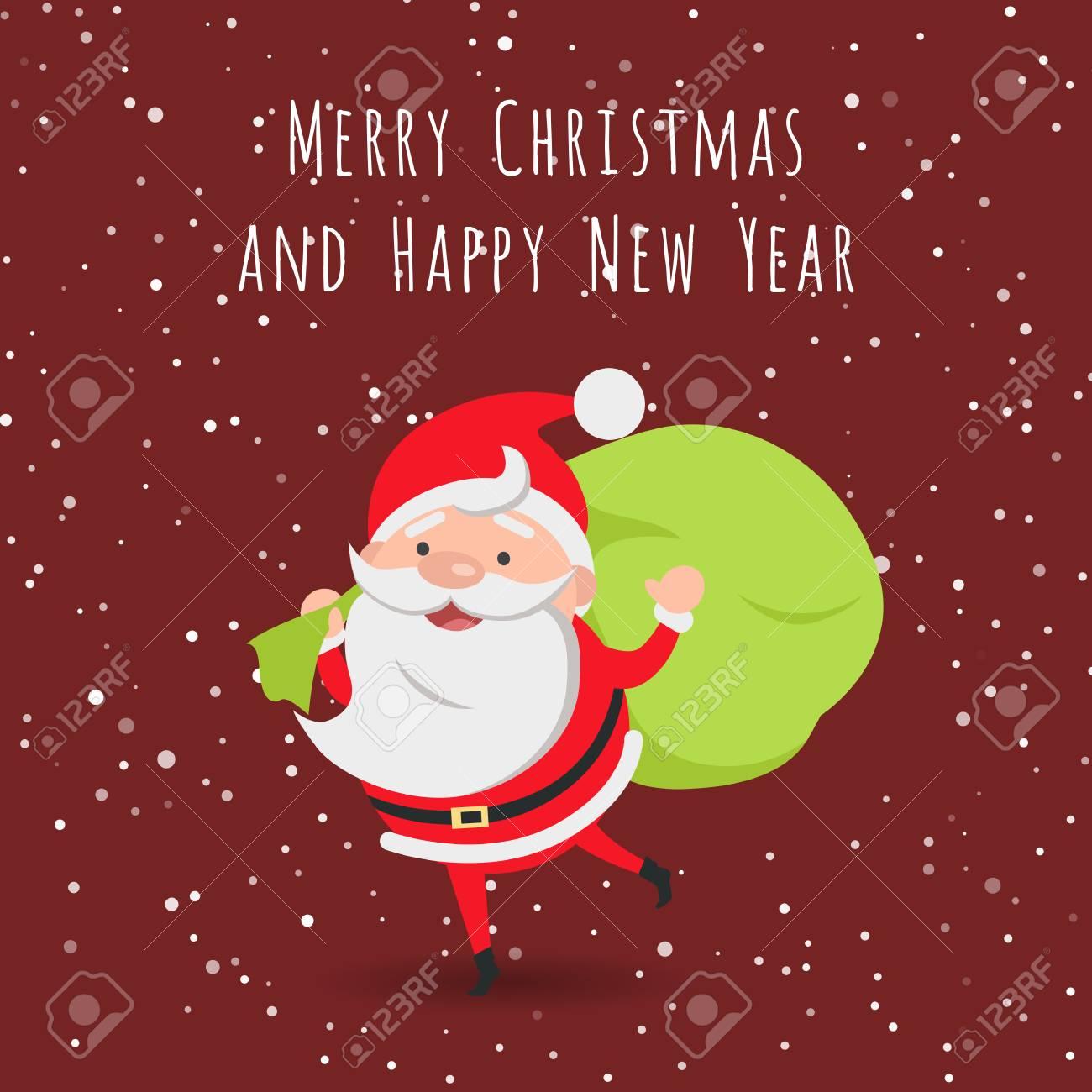 Vrolijk Kerstfeest En Een Gelukkig Nieuwjaar Kerstman Royalty Vrije