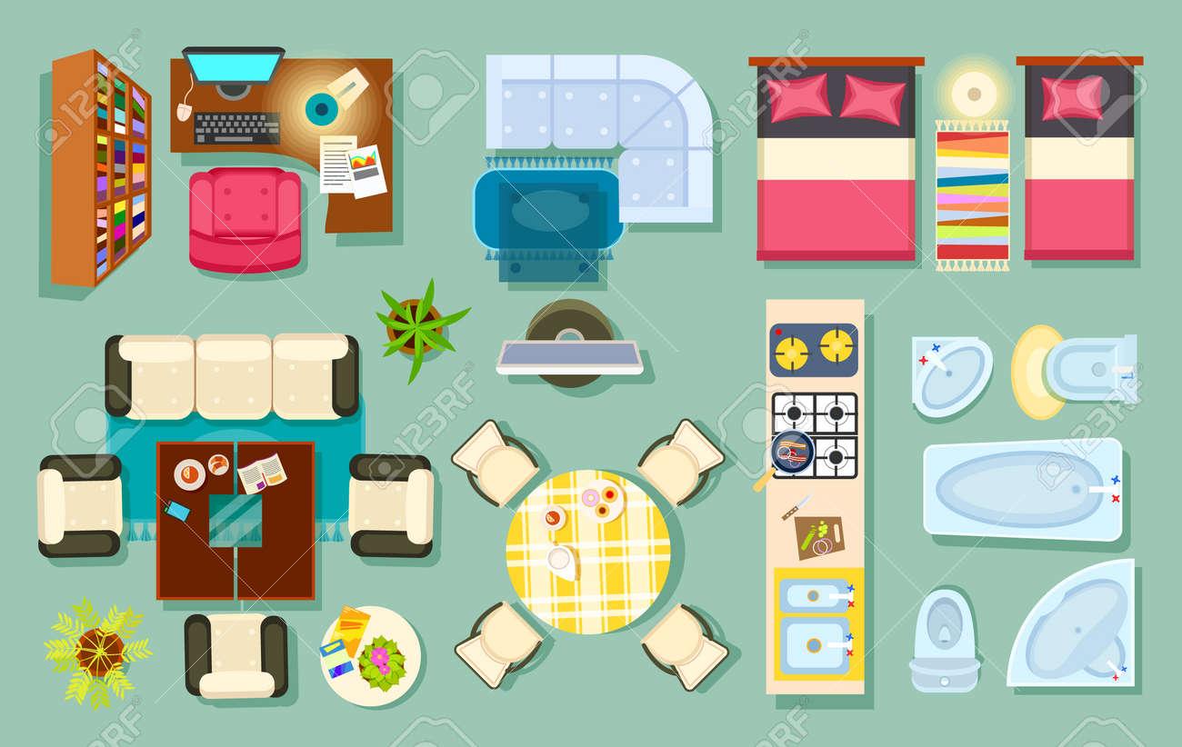 Flache Innenansicht. Wohnzimmer, Bad, Schlafzimmer. Küche, Büroraum. Moderne  Möbel Im