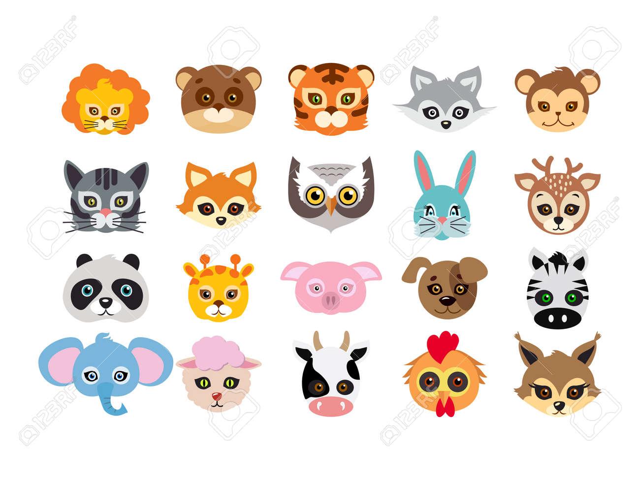 Collection of different animal masks on face. Mask of lion, bear, tiger, rabbit, monkey, cat, fox, owl, hare, giraffe, deer, panda, pig dog zebra elephant sheep cow squirrel in flat design - 72891105