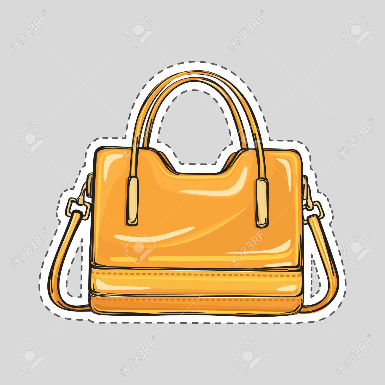 1128ae64de Ladies handbag with handle and clips isolated in flat style. Patch icon.  Elegant orange